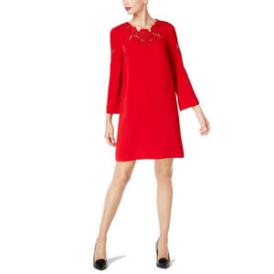Alfani Womens Red Lace Bell-Sleeve Dress